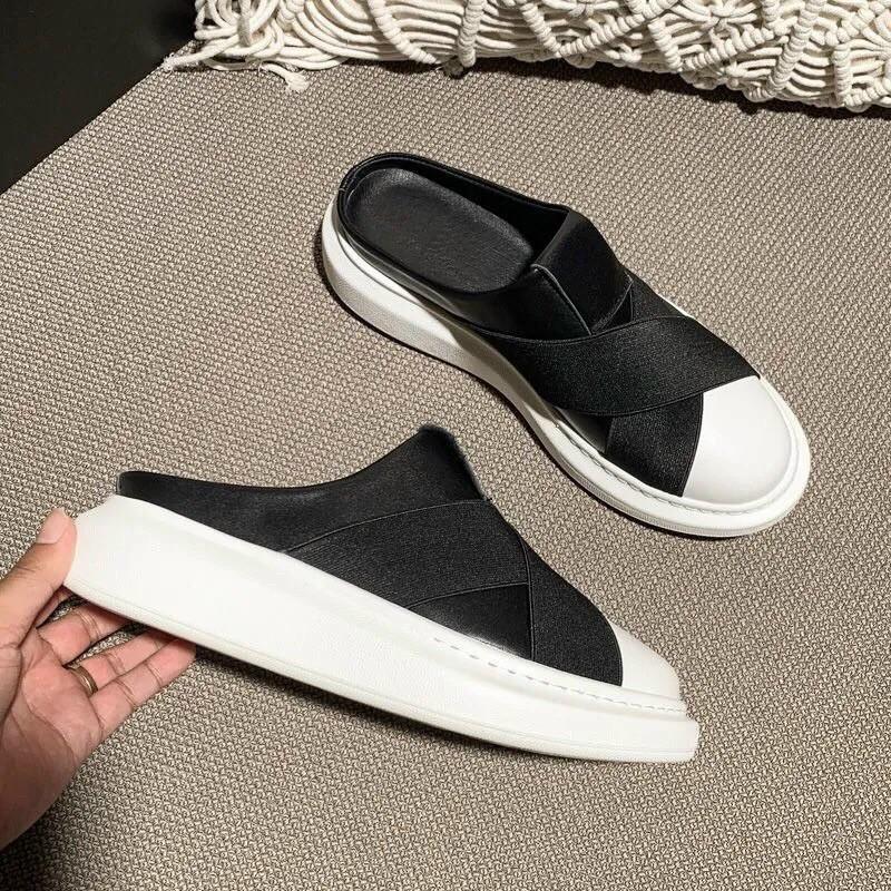 (freeship)sục giày  chun chéo mũi trắng trơn nữ hót hè