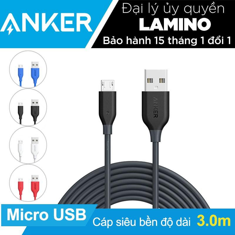 Cáp sạc siêu bền ANKER PowerLine Micro USB dài 3m – Hãng Phân Phối Chính Thức