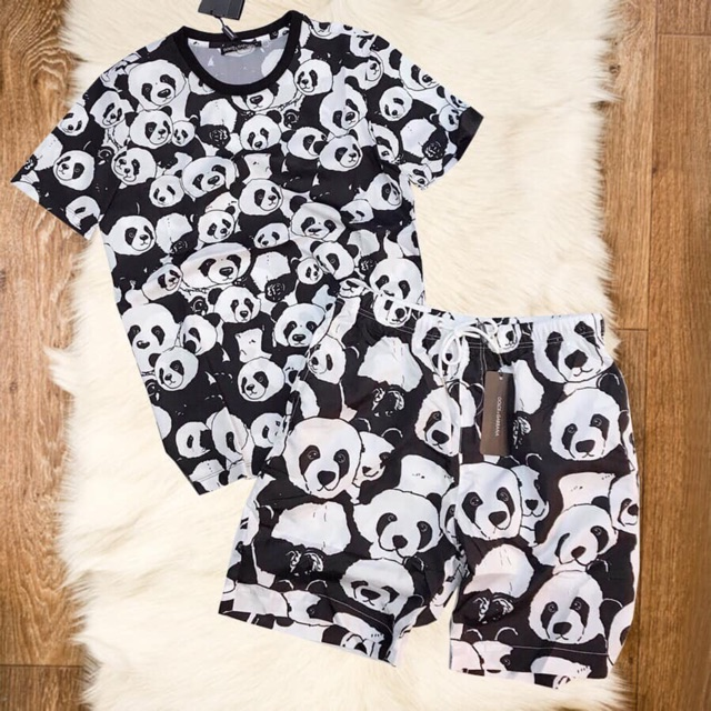 Quần áo nam   Bộ hè nam in gấu trúc 3D - Set quần áo nam hình gấu trúc