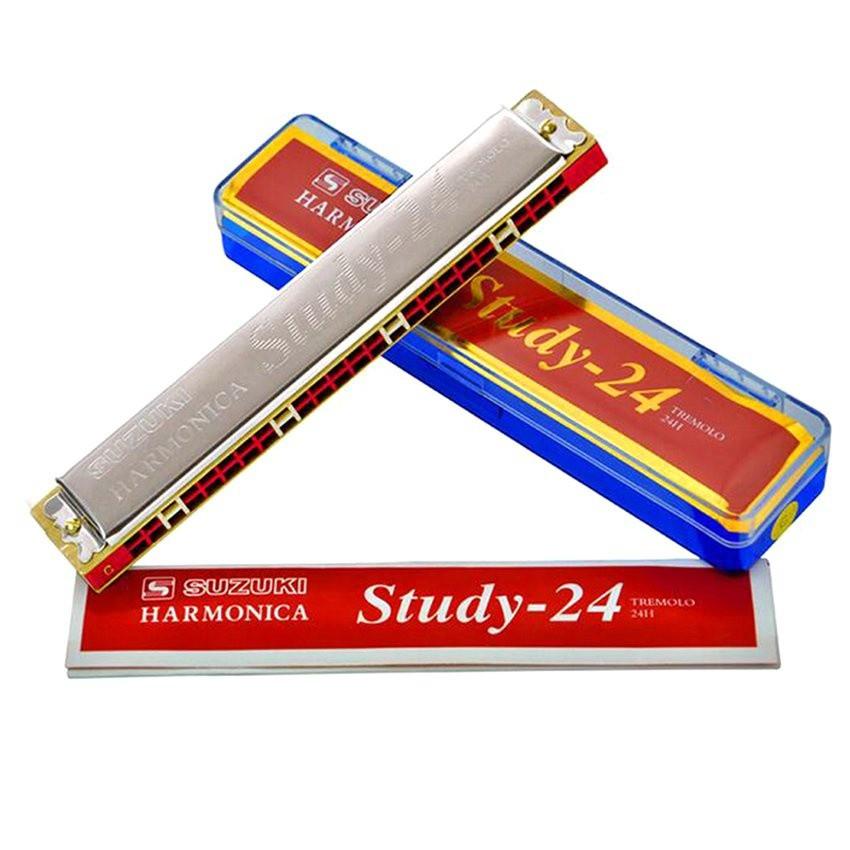 (FREE SHIP) Kèn harmonica tremolo Suzuki Study  key C (Bạc)
