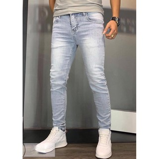Quần Jeans Nam Bạc Chất Co Giãn Dáng Ôm Ống Côn Trẻ Trung