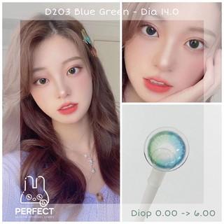 [Giá 1 Chiếc] Lens D203 Blue Green (0.00 -> 6.00) Dia 14.0 – Kính Áp Tròng