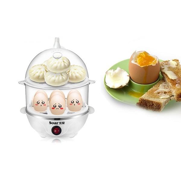 Máy luộc trứng hấp thức ăn đa năng 2 tầng Soar - 2753004 , 49167061 , 322_49167061 , 359000 , May-luoc-trung-hap-thuc-an-da-nang-2-tang-Soar-322_49167061 , shopee.vn , Máy luộc trứng hấp thức ăn đa năng 2 tầng Soar