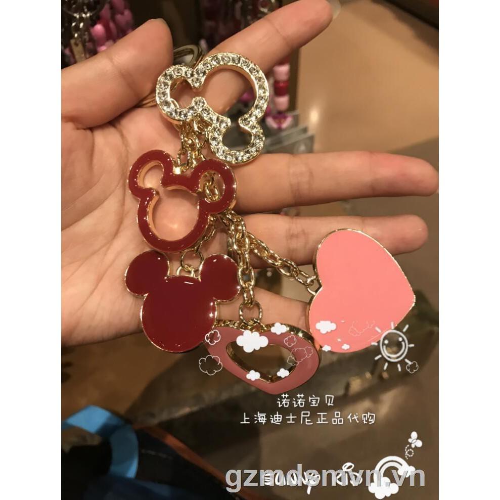 ◐☃❀Shanghai Disneyland domestic purchasing Mickey head flashing diamond metal key ring buckle pendant anime