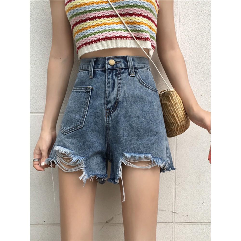 Summer casual pants high waist loose straight pants hole irregular jeans female