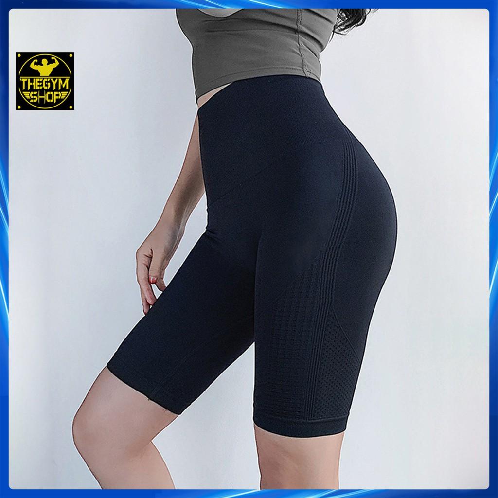 Mặc gì đẹp: Quần đùi tập gym yoga legging nữ cạp cao AMIN AM027 quần lửng đùi ngố tập gym yoga aerobic co dãn 4 chiều