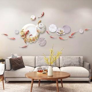 Đồng hồ treo tường trang trí lý ngư trông trăng