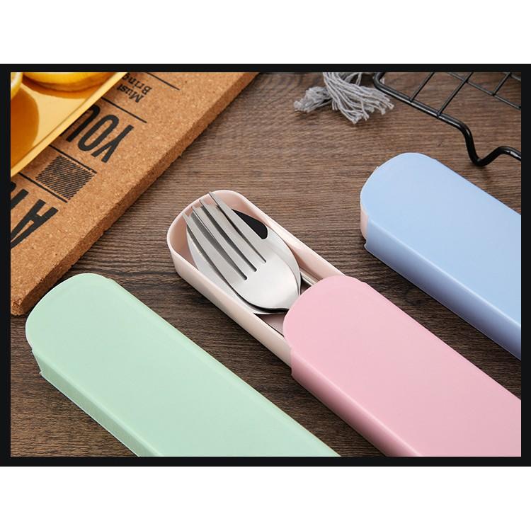 SG Bộ muỗng đũa nĩa thìa inox cá nhân cao cấp có hộp đựng tiện dụng mang đi du lịch