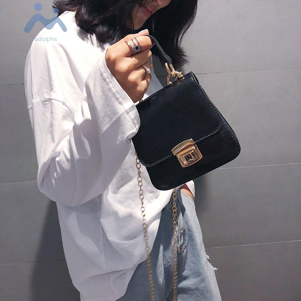 Túi đeo chéo vai dây kim loại có nút thời trang Retro cho nữ