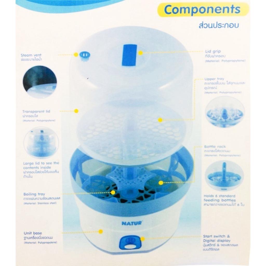 Baby Products Natur เครื่องนึ่งขวดนมไฟฟ้า แถมฟรี ขวดนมเนเจอร์ ขนาด 4 ออนซ์ และ 8 ออนซ์ อย่างละ  2 ขวดaby Products Natur