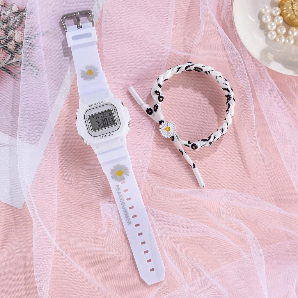 Đồng hồ điện tử nam nữ Aosun dây hoa cúc mẫu DH106