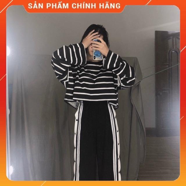 Áo croptop kẻ dài tay ống rộng