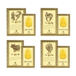 ANCARAT- Mặt mạ vàng 24k Phật 12 con giáp bình an