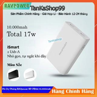 Sạc Dự Phòng RAVPower RP-PB166 10000mAh Sạc Nhanh iSmart 2.0, Output 3.4A - Hàng Chính Hãng
