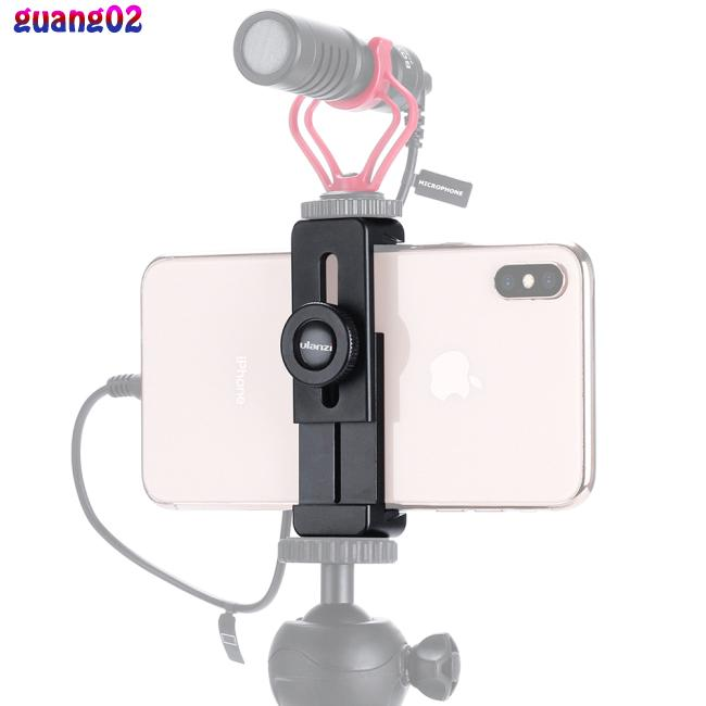 ULANZI ST-02L Smartphone Vlog Phone Mount with Cold Shoe for Microphone Vlogging Phone Stand Holder 1/4 Screw for iPhone Android