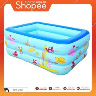 [ẢNH THẬT] Bộ bể bơi 1m5 3 tầng + bộ câu cá + 100 banh ( bóng ) nhựa + xúc cát
