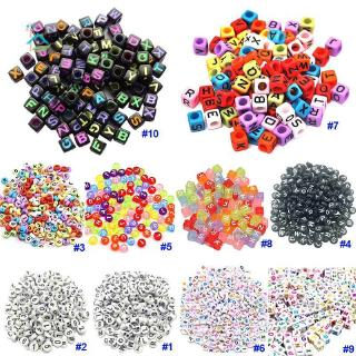 NU DIY Square Round Acrylic Alphabet Spacer Loose Beads For Necklace Bracelet Letter Beads Charms Jewelry Making .vn