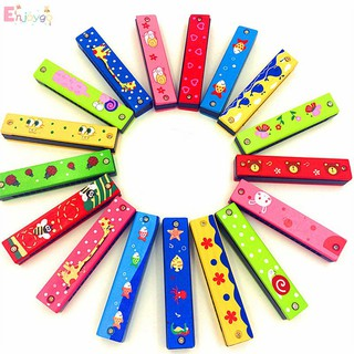ENJ MALL Wood harmonica wood plastic double row 16 holes harmonica toy