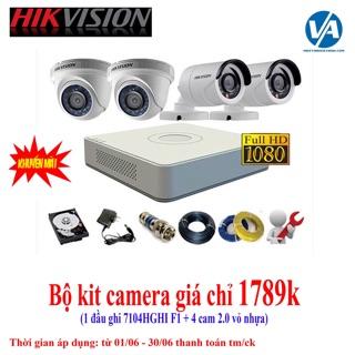 Combo 4 Camera Hikvision 2.0M FullHD + 1 Đầu ghi hình Hikvision 7104 F1/N 1080N H264+ (chưa bao gồm ổ cứng và phụ kiện)