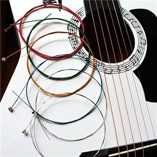 6 pcs Stainless Steel Rainbow Color Strings for Acoustic Guitar
