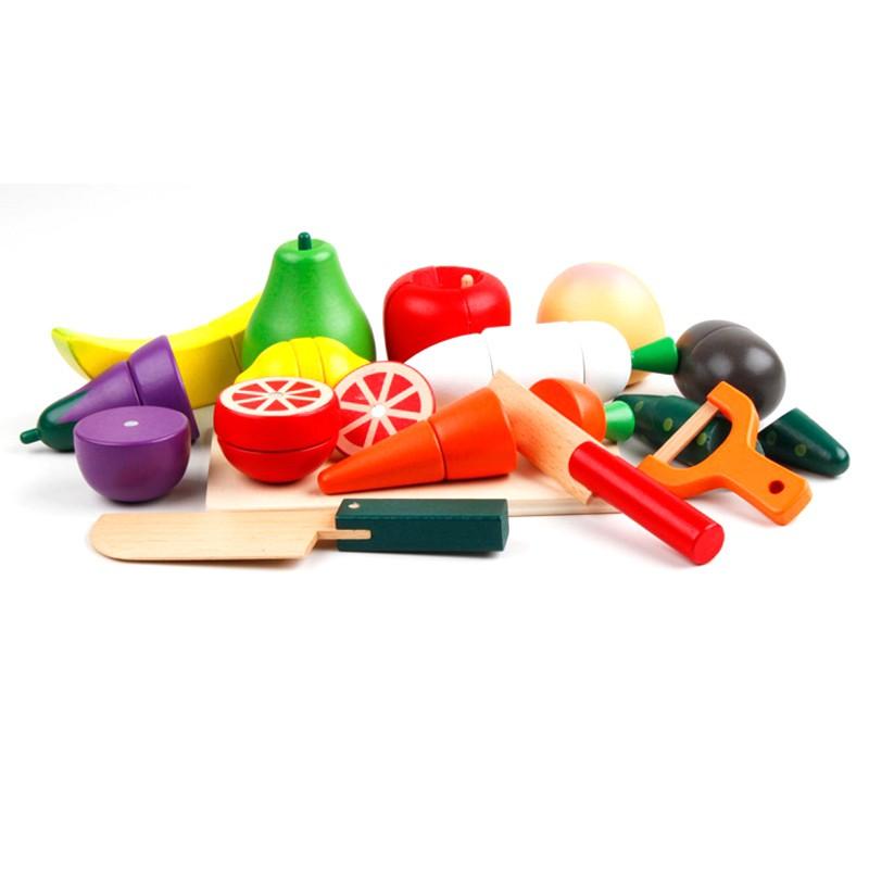 Đồ chơi gỗ Vivitoys - Cắt trái cây nam châm túi vải, đồ chơi cho bé gái xinh xắn.