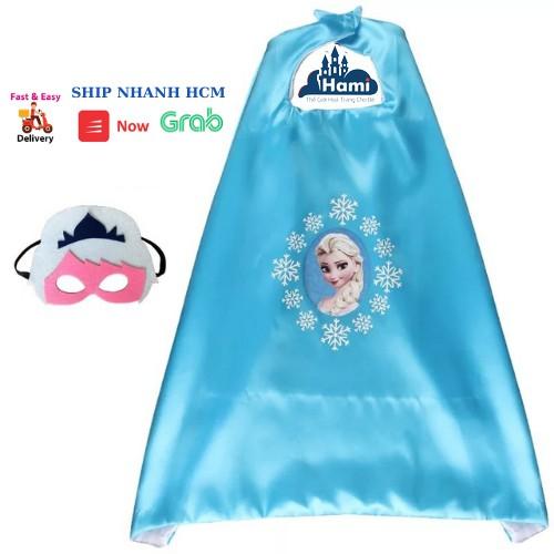 Áo choàng công chúa elsa màu xanh kèm mặt nạ che mắt hm0613