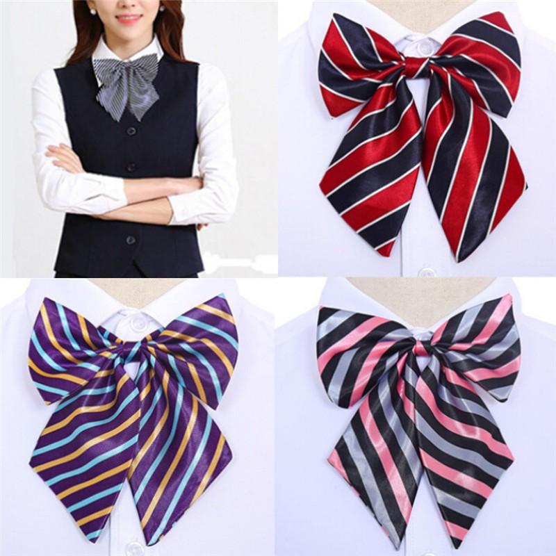 【FAF】Women Bowties Striped Bow Ties Silk Tie Bow Tie Butterfly Neck Wear Collar【VN】