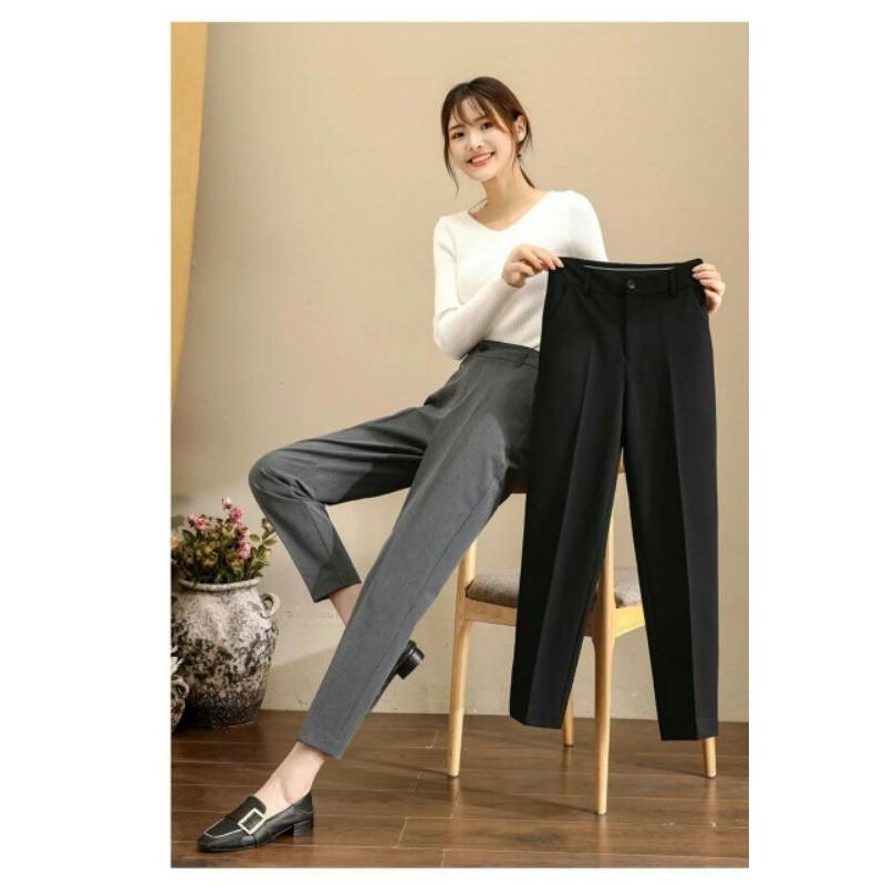 Mặc gì đẹp: Sang trọng với Quần tây nữ đi học lưng cao dáng dài màu đen mặc đi làm công sở - Quần vải baggy nữ học sinh cạp cao vải co giãn nhẹ