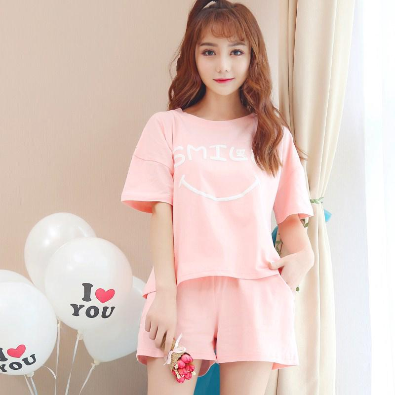 ◎Summer Pajamas Female pink cotton short sleeve set cute teen Korean version Fresh student Two pieces of thin
