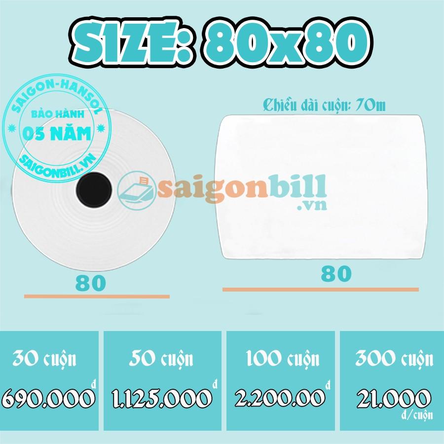 [Nhập ELCLMAY hoàn 30K xu đơn từ 200K]GIẤY IN BILL | K80x80 chỉ 23.000đ/cuộn | Giấy Hansol – Hàn Quốc Giá chỉ 21.000₫