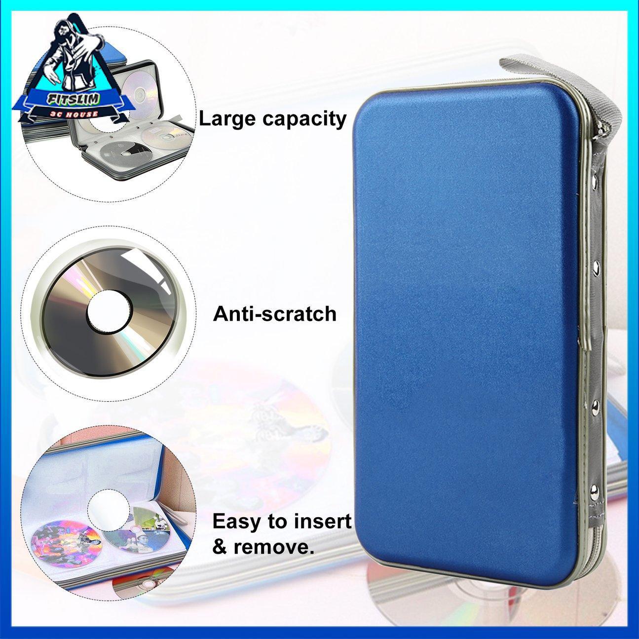 Hộp đựng đĩa có dây kéo Hộp đựng đĩa 80 PCS Giá đỡ đĩa CD VCD Hộp cứng di động