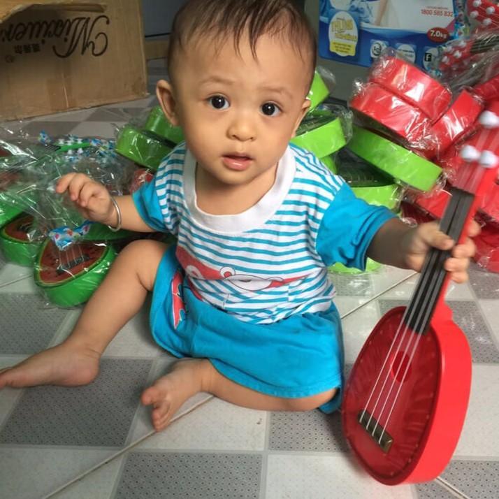 Combo 3 cây Ukulele đồ chơi cho bé kiwi, cam ,dưa hấu
