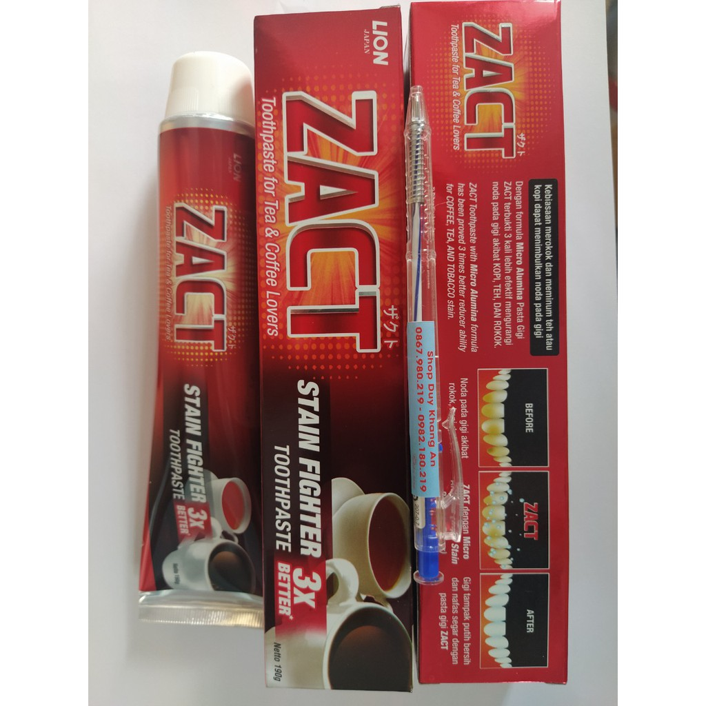 Kem đánh răng ZACT 190g ( Đặc biệt dành cho người uống trà, cafe, hút thuốc lá)
