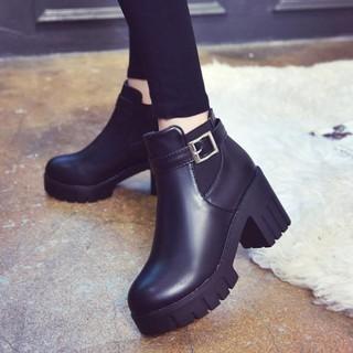 [ Xả kho 3 ngày ] Giày bốt nữ đế cao 5,5cm - Boot nữ da trơn mẫu mới thumbnail