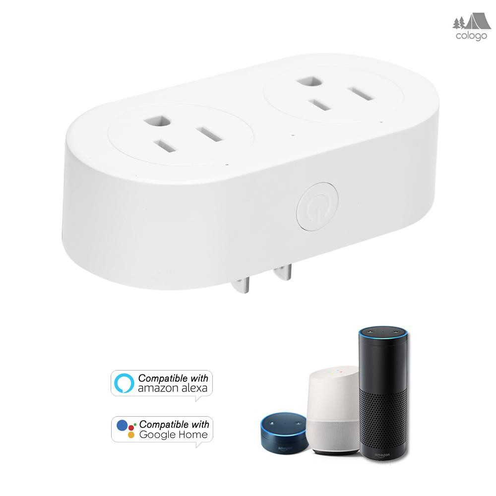 Smart Plug 2 in 1 WIFI Mini Smart Outlet Sockets Set Schedule Remote Control from Anywhere,Voice Con