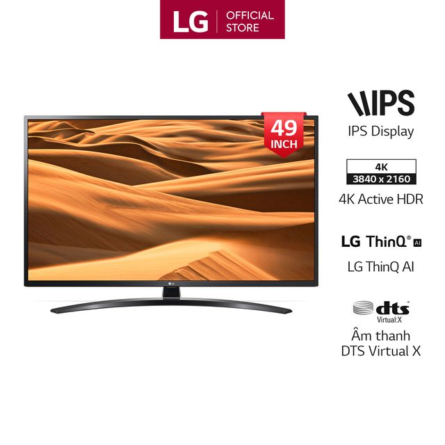 Smart Tivi LG 49 Inch UHD 4K 49UM7400PTA Model 2019 - Có Magic Remote (Chính H