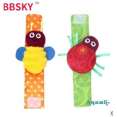 W✧✧2 New Cute Cartoon Baby Wrist Strap Rattle Toy Musical Development Bell Kids Toy