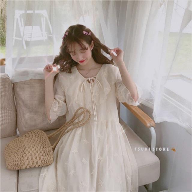 Đầm công chúa tay lỡ cổ buộc thêu bướm ulzzang 🌥