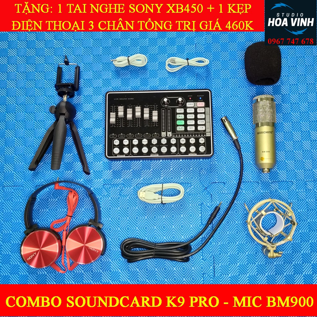 Combo Mic Thu Âm K9 Pro – Mic Bm900, Tặng Ngay 1 Tai Nghe Sony XB450 + 1 Kẹp Điện Thoại 3 Chân (Trị Giá Quà 460K)