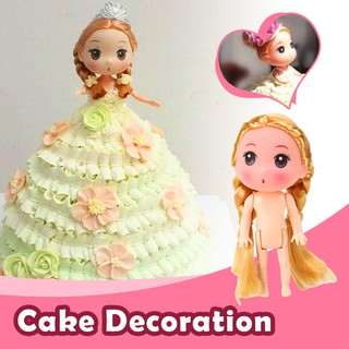 12cm Naked Doll Toys Kids Cake Baking Bowknot Braids Girls Blonde Decoration