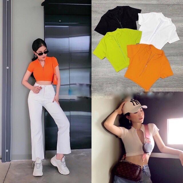 🌈𝓐̉𝓷𝓱 𝓽𝓾̛̣ 𝓬𝓱𝓾̣𝓹🌈 - Áo croptop tay ngắn thiết kế dây kéo cực cá tính ( BEST SELLER)/ áo thun nữ/ croptop