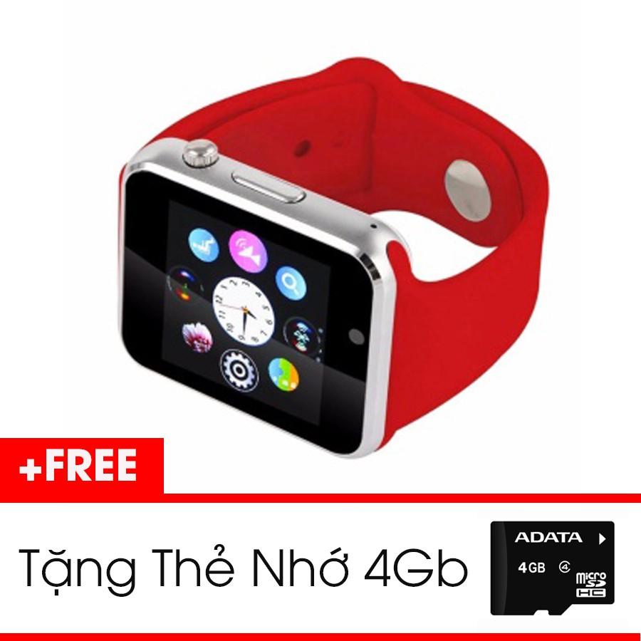 [Siêu Hot] Set Đồng Hồ Thông Minh Smartwatch màu Đỏ + Thẻ Nhớ 4Gb