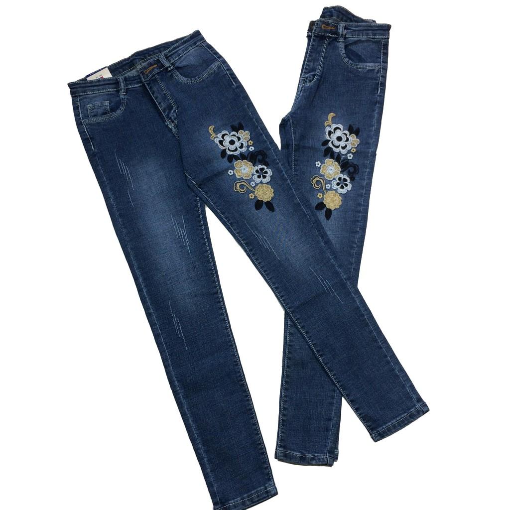 quần jean hoa thêu chất đẹp có video xem chất