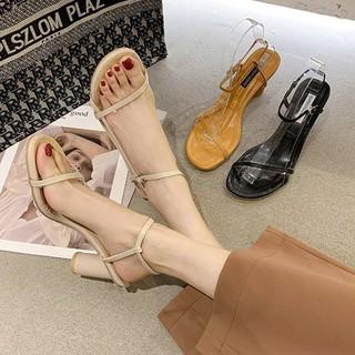 SWEETC dép của phụ nữ phong cách Hàn Quốc giày cao gót dép gót dày