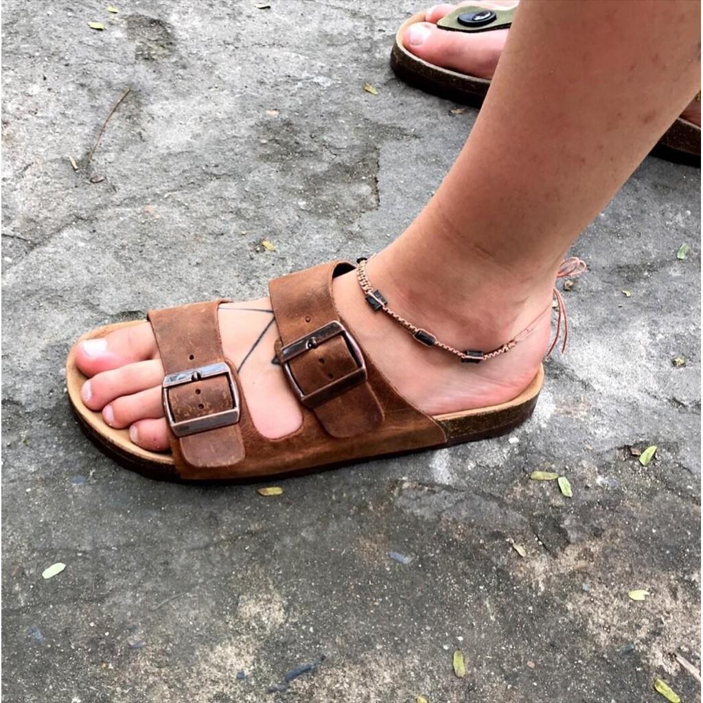Dép sandal unisex -2 khóa Da Bò nâu #sandal
