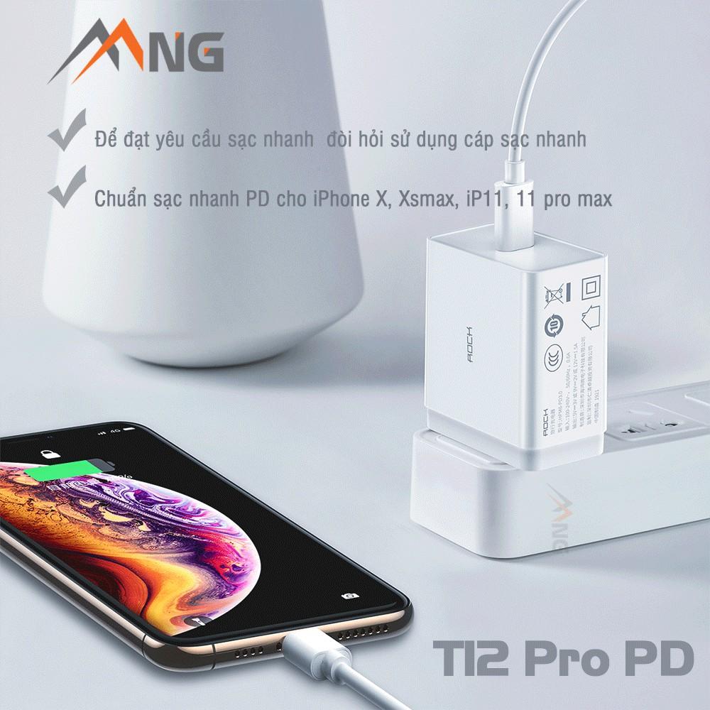 Củ sạc Rockspace T12 pro chuẩn sạc nhanh PD cho iphone 8; X,Xsmax,ip11,11 pro max