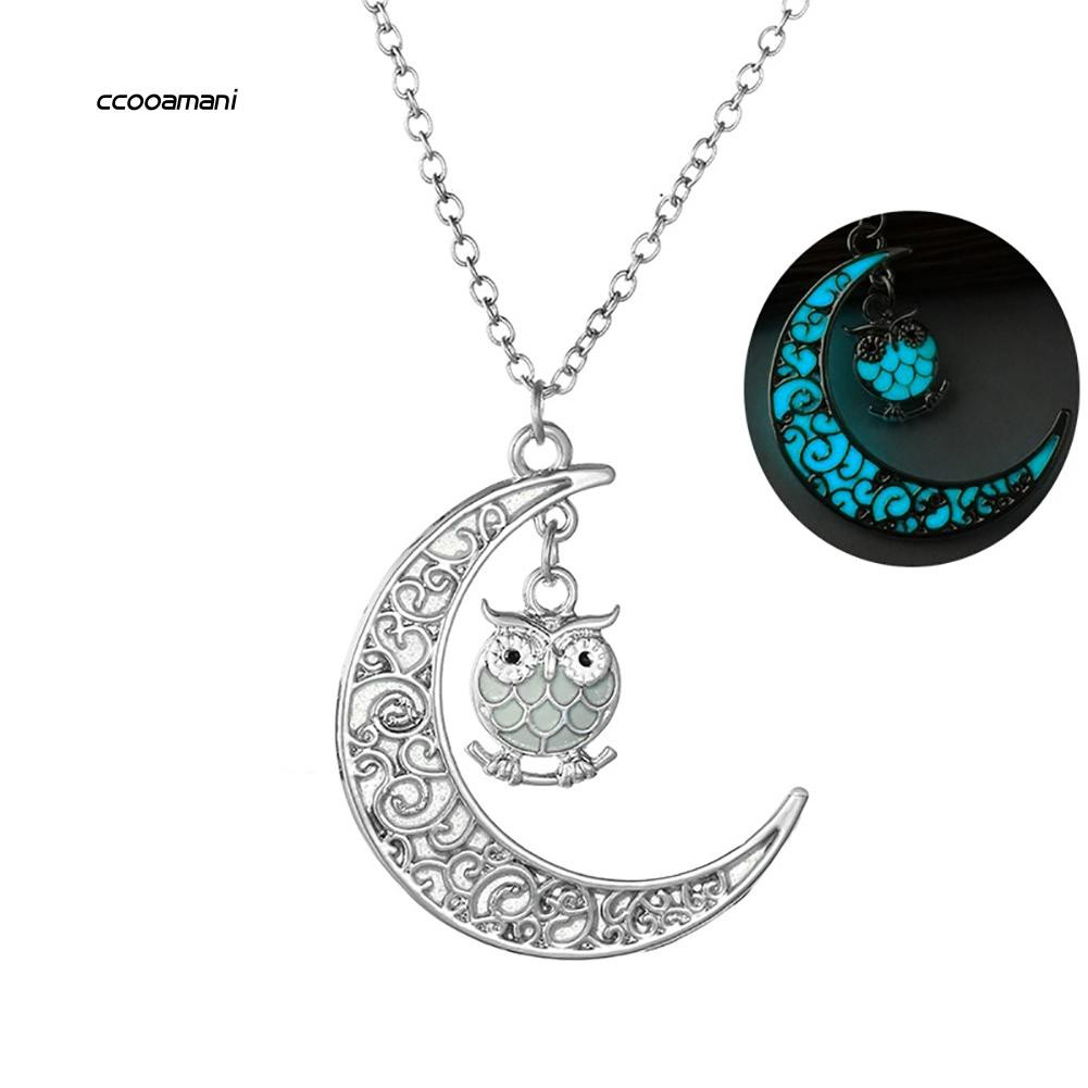 XL-Women Necklace Glow in The Dark Hollow Moon Owl Pendant Charm Chain Jewelry Gift
