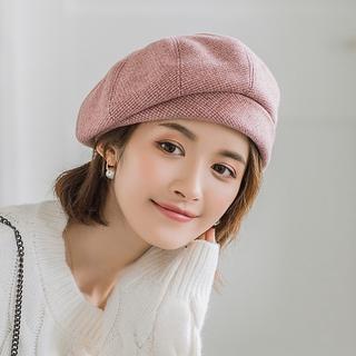 Mũ Beret Họa Tiết Sọc Caro Phong Cách Retro Anh Quốc Cho Nữ