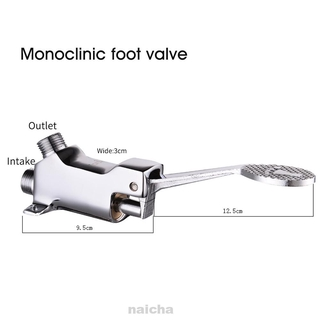 Silver Touchless Sanitary Laboratory Floor Mounted Outlet Inlet Foot Pedal Faucet Set