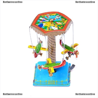 [NVC Free]Vintage Wind Up Toys Gift Fairground Carousel Airplane Planes Mechanical Tin Toy